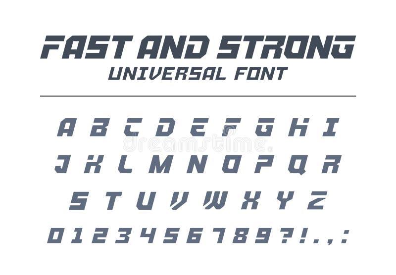 Snabb och stark snabb universell stilsort Sport som är futuristisk, teknologi, framtida alfabet royaltyfri illustrationer