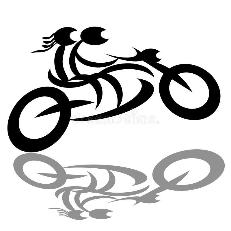 Snabb ridning för cyklistpar på motorcykeln vektor illustrationer