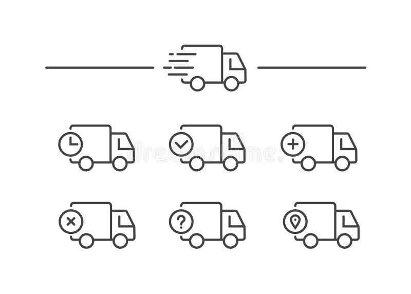 Snabb sändningsleveranslastbil Uppsättning av linjen symboler också vektor för coreldrawillustration royaltyfria bilder
