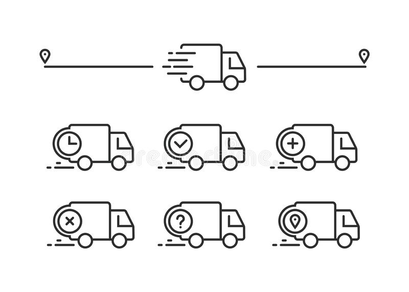Snabb sändningsleveranslastbil Uppsättning av linjen symboler vektor illustrationer