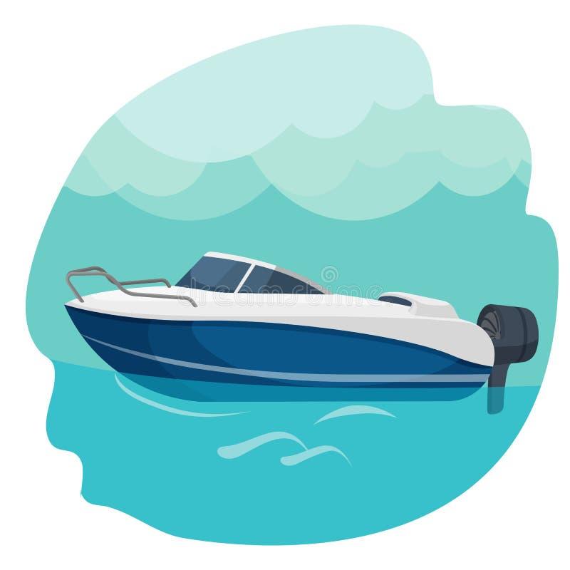 Snabb segling för motoriskt fartyg i den isolerade havsvektorillustrationen stock illustrationer