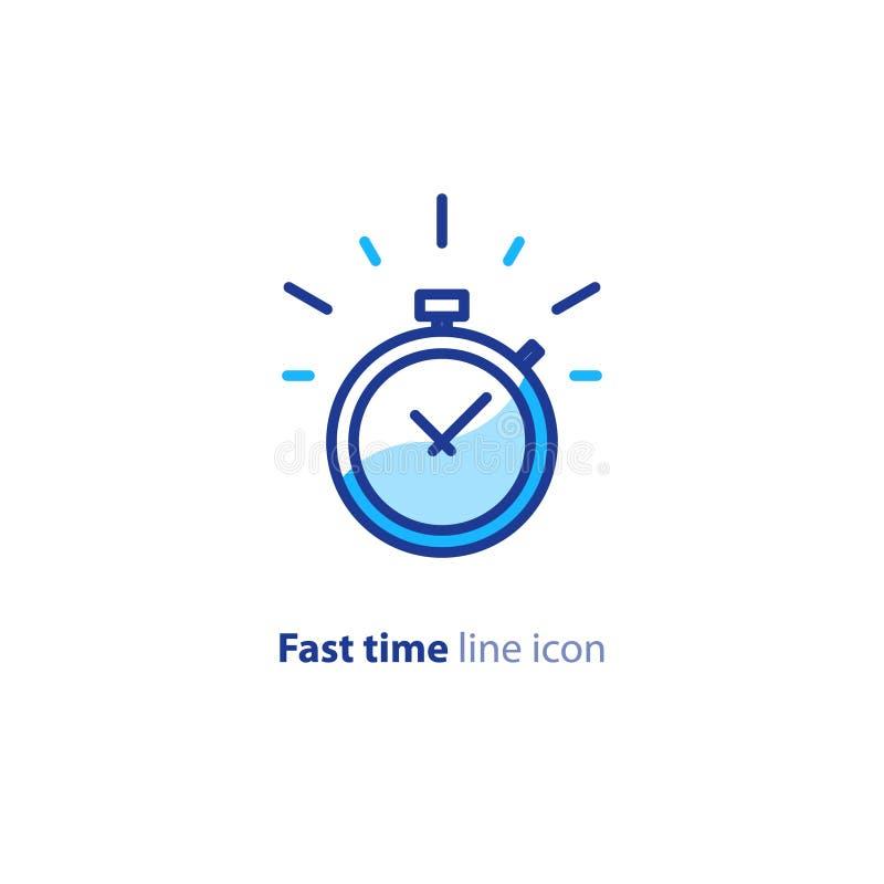 Snabb service, snabb leverans, stopptidtid, fördröjninglarm, linje symbol royaltyfri illustrationer