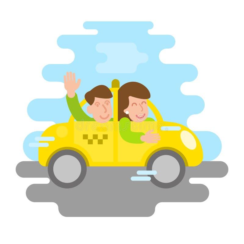 Snabb taxi med lyckligt folk stock illustrationer