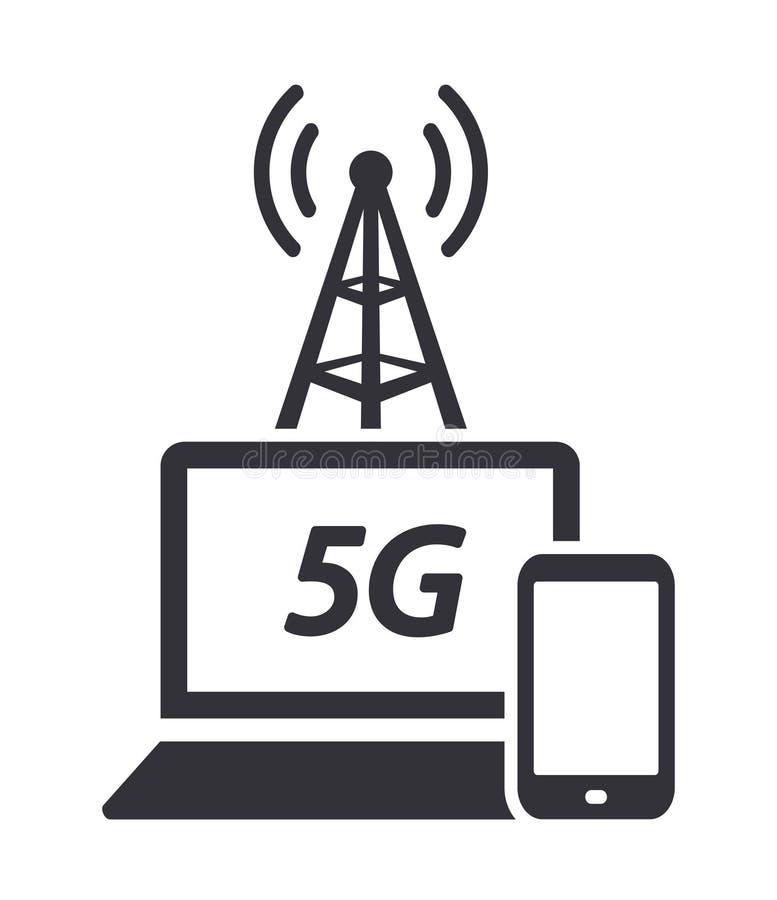 Snabb trådlös för rengöringsduknätverk för internetåtkomst 5G symbol för vektor för anslutning stock illustrationer