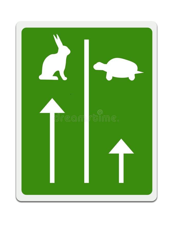 Snabba och långsamma gränder för den tortroiseaka sköldpaddan och haren, begrepp för affärsframgång Vit bakgrund stock illustrationer