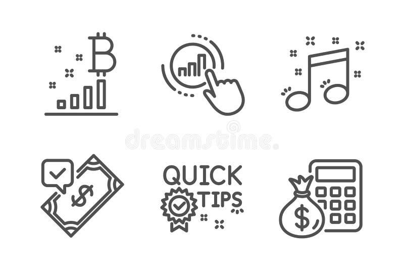 Snabba spetsar, accepterad betalning och upps?ttning f?r Bitcoin grafsymboler vektor vektor illustrationer