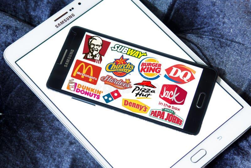 Snabbmat beviljar franchise märken och logoer royaltyfri fotografi