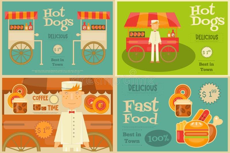 Snabbmat Mini Posters royaltyfri illustrationer