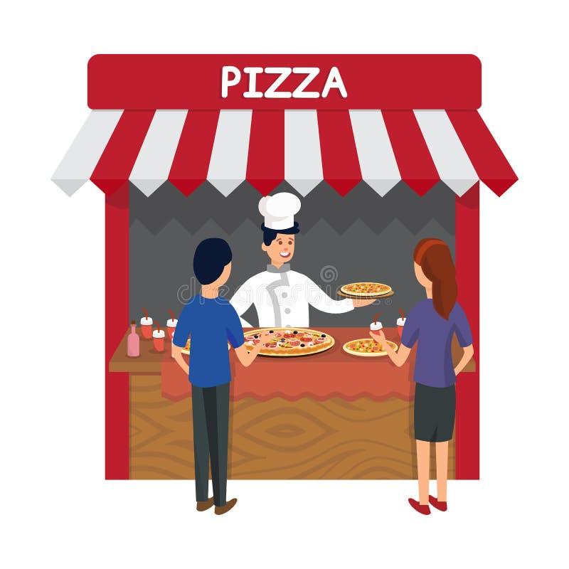 Snabbmat pizzeria lagrar den plana vektorillustrationen royaltyfri illustrationer