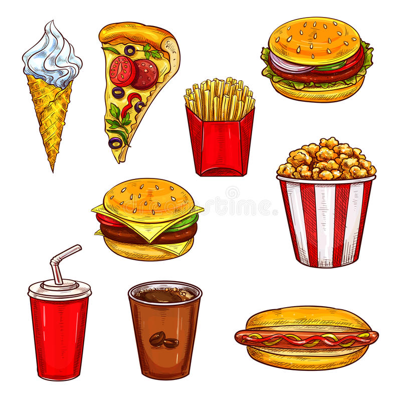 Snabbmat skissar uppsättningen med hamburgaren, drinken, efterrätt vektor illustrationer