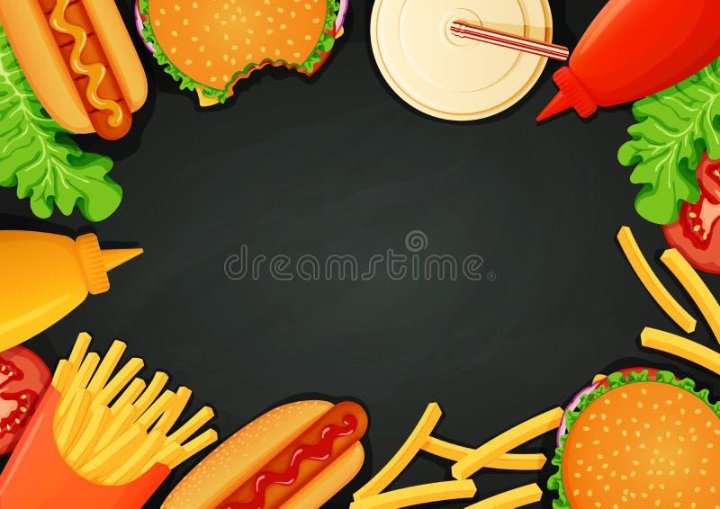 Snabbmataffisch, baner, menymall Hamburgare, varmkorvar, ketchup, senap, småfiskar, drink, grönsallat och tomat stock illustrationer