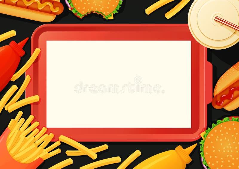 Snabbmataffisch, baner, menymall Magasin med hamburgare som är varma royaltyfri illustrationer