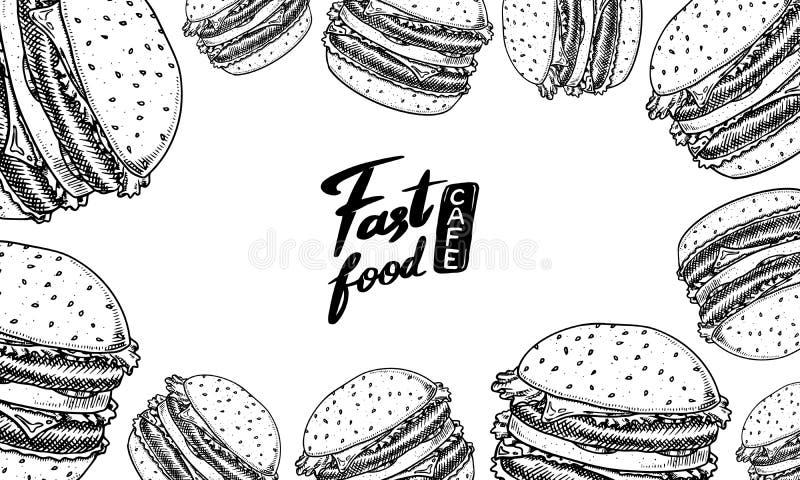 Snabbmatbakgrund Mall för baner för hamburgare för grönsakstrikt vegetarianhamburgare i tappningstil Skissa kortet för restaurang royaltyfri illustrationer