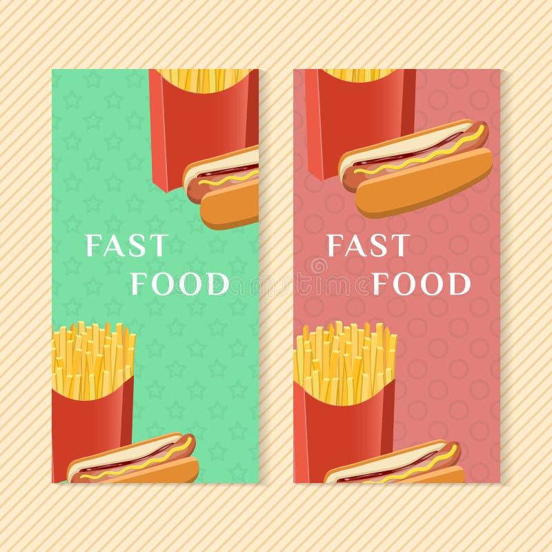 Snabbmatbaner med varmkorv- och fransmansmåfiskar Beståndsdelar för grafisk design för menyn som förpackar som annonserar, affisc vektor illustrationer