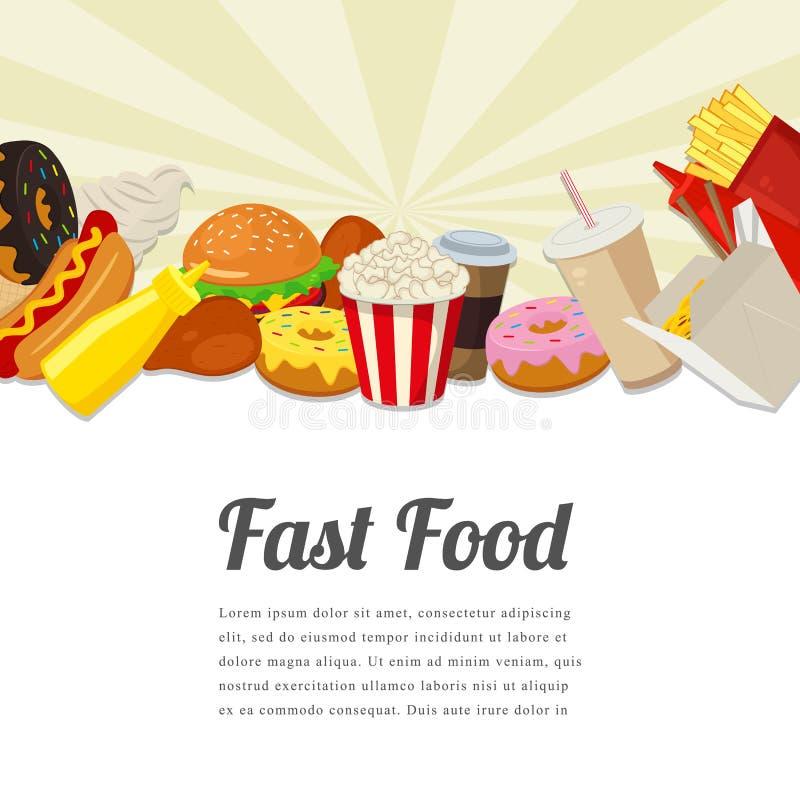 Snabbmatkortdesign Matbakgrund med färgrikt snabbmatmål Smakligt matbegrepp vektor stock illustrationer