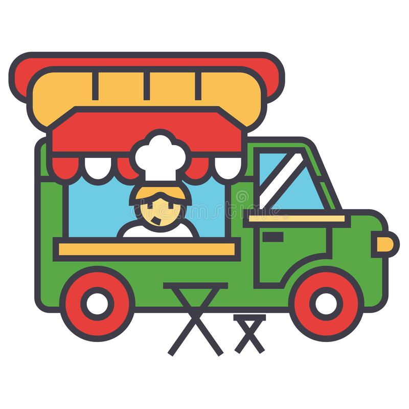 Snabbmatlastbil, gatamat, mobilt kökbegrepp royaltyfri illustrationer