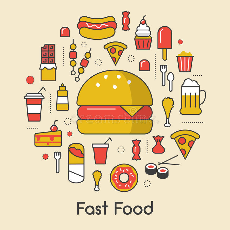 Snabbmatlinje Art Thin Icons Set med hamburgarepizza och skräpmat stock illustrationer