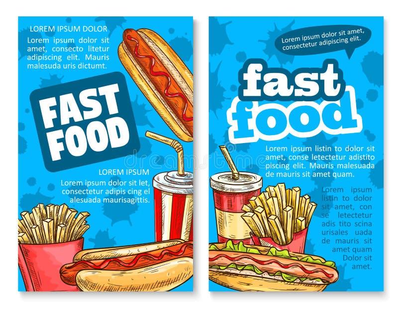 Snabbmatlunch skissar fastställd design för affischmall vektor illustrationer