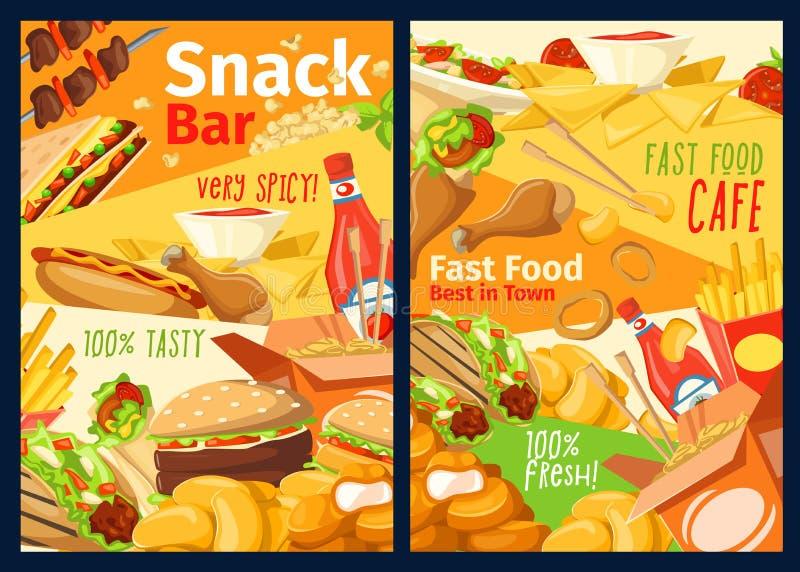 Snabbmatmellanmål-, smörgås- och hamburgaremeny royaltyfri illustrationer