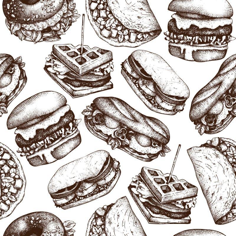 Snabbmatrestaurangbakgrund Den sömlösa modellen med utdragna hamburgare för handen, taco, smörgåsar, dillandear, bagles skissar T stock illustrationer