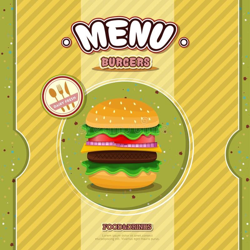 Snabbmatrestaurangmeny stock illustrationer