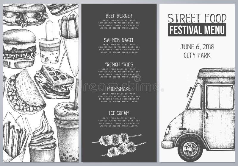 Snabbmatrestaurangreklamblad för kafé eller restaurangdesign Inristad stilhäftemall Meny för gatamatfestival Vektoriilus royaltyfri illustrationer