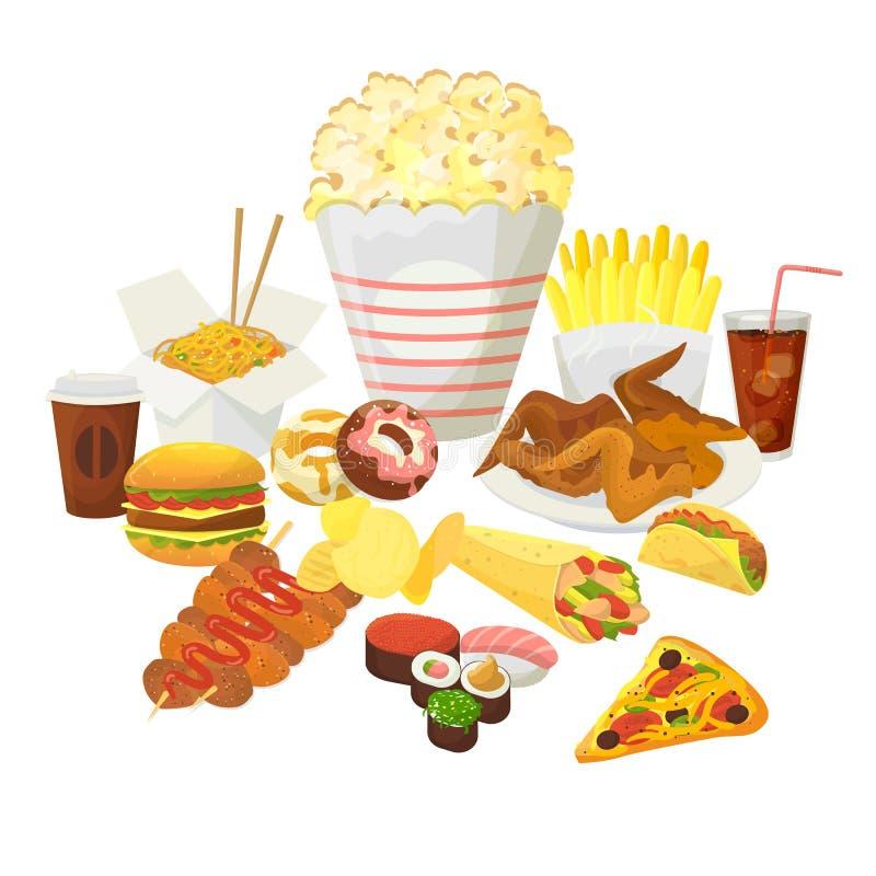 Snabbmatsvektorn isolerad på vit bakgrund Snabb hamburgare, popmajs, cola och stekt potatis med kyckling stock illustrationer