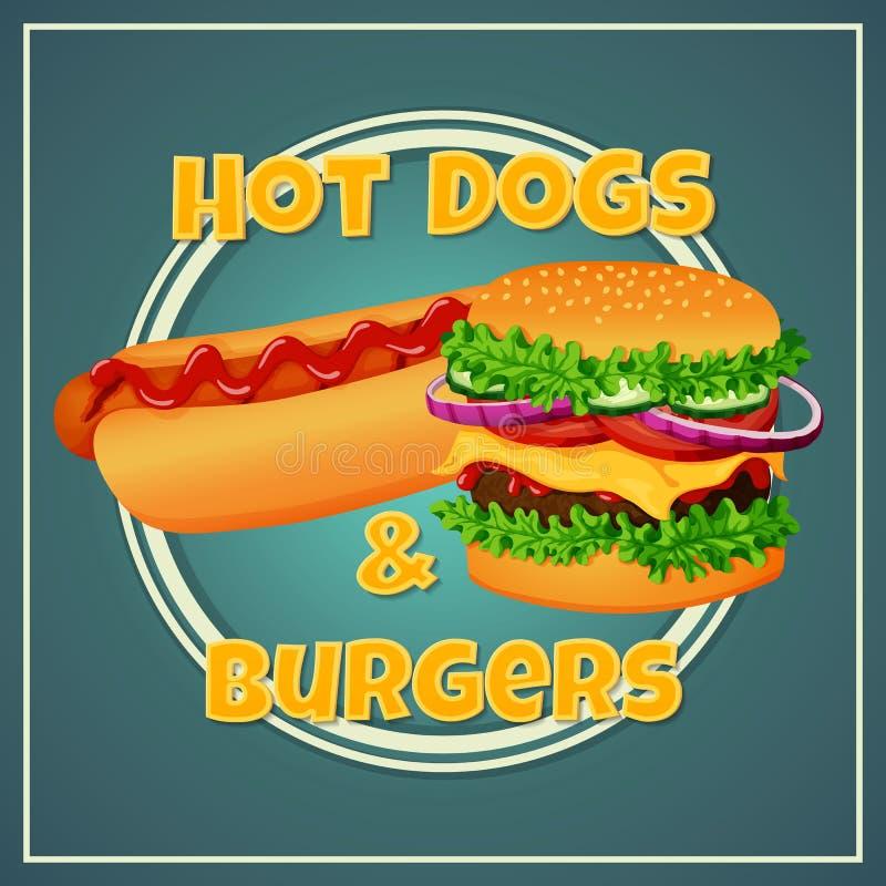 Snabbmatsymbol, etikett, klistermärke, tecken, affisch Grillad varmkorv med ketchup- och kötthamburgaren på en blå bakgrund stock illustrationer