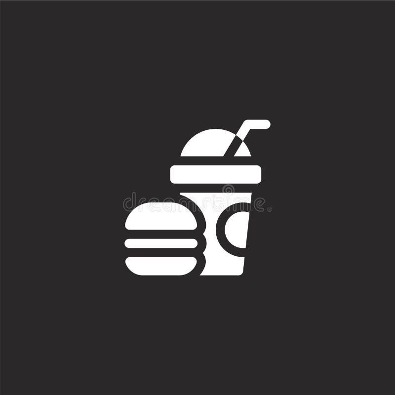 Snabbmatsymbol Fylld snabbmatsymbol för websitedesignen och mobilen, apputveckling snabbmatsymbolen från fyllt vatten parkerar stock illustrationer