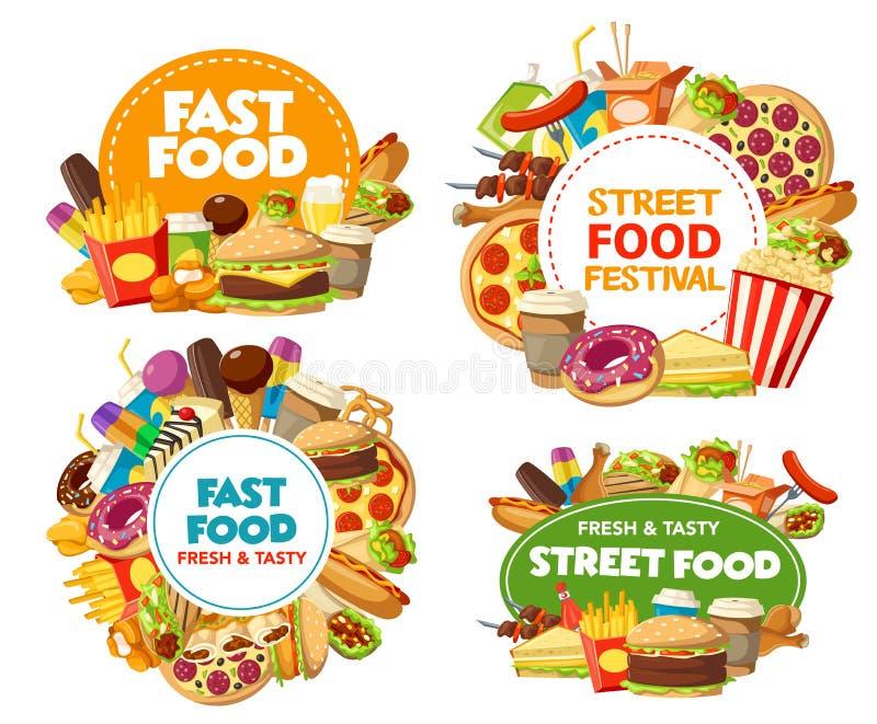 Snabbmatsymboler av pizza, hamburgare, sodavatten, småfiskar vektor illustrationer