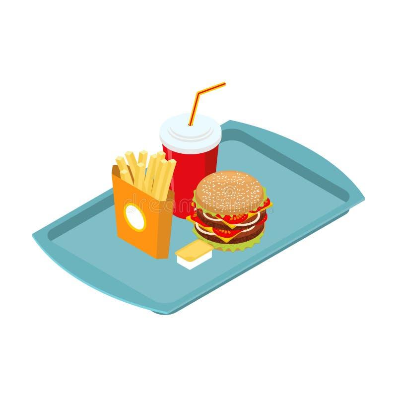 Snabbmatuppsättning på det isometriska magasinet steka potatisar stor hamburgare stock illustrationer