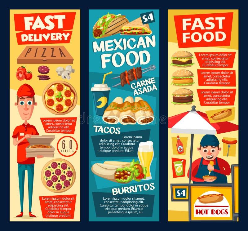 Snabbmatvarmkorvförsäljare, pizza och taco royaltyfri illustrationer