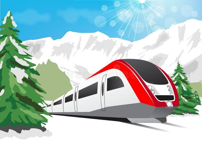 Snabbt drev som kör på bakgrund av snöig berg royaltyfri illustrationer