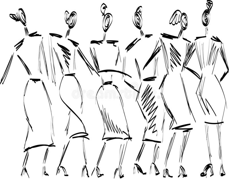 Snabbt hand-dragit mode skissar med flickavektorn vektor illustrationer