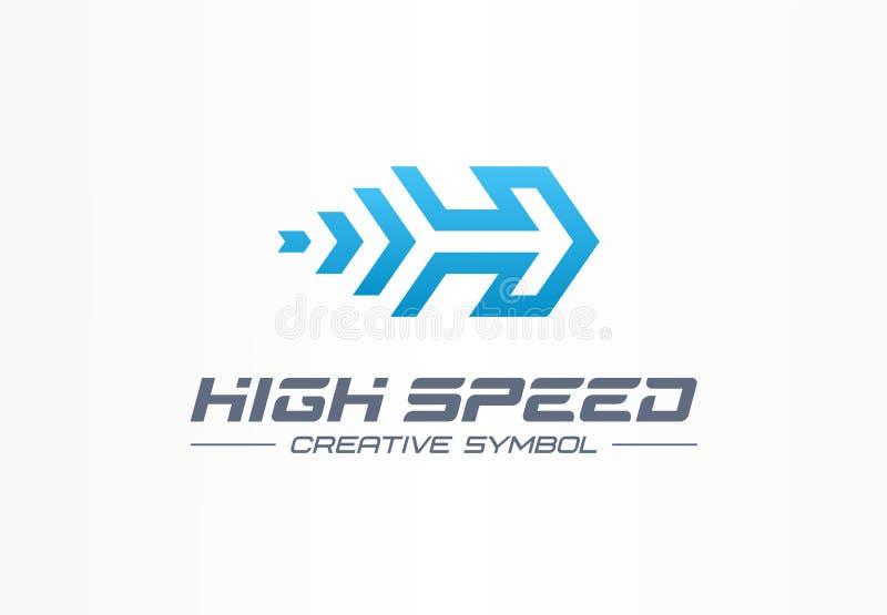 Snabbt idérikt sportsymbolbegrepp Makt accelererar loppet i logo för affär för piltillväxt abstrakt Raket framåtriktat royaltyfri illustrationer