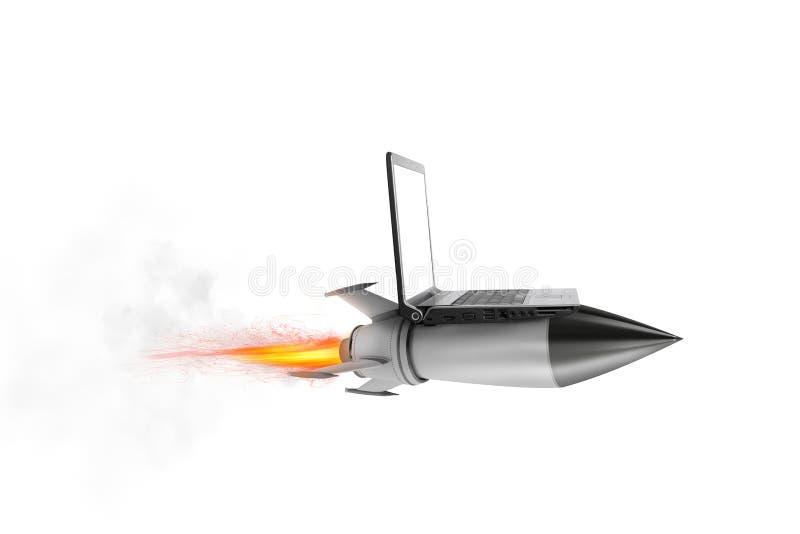 Snabbt internetbegrepp med en bärbar dator över en raket fotografering för bildbyråer
