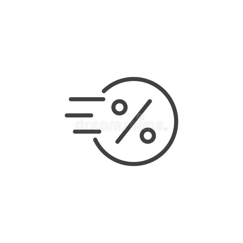 Snabbt mynt med symbolen för översikt för procenttecken royaltyfri illustrationer