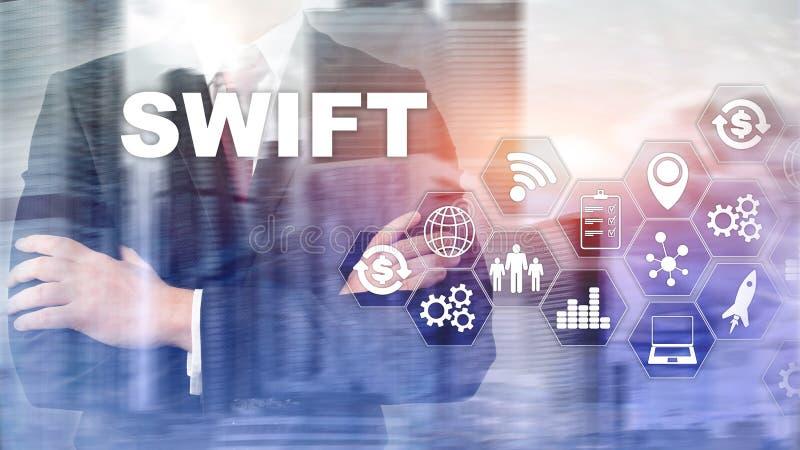 snabbt Samhälle för världsomspännande finansiella telekommunikationer mellan banker Internationell betalning extra bakgrundsaffär vektor illustrationer