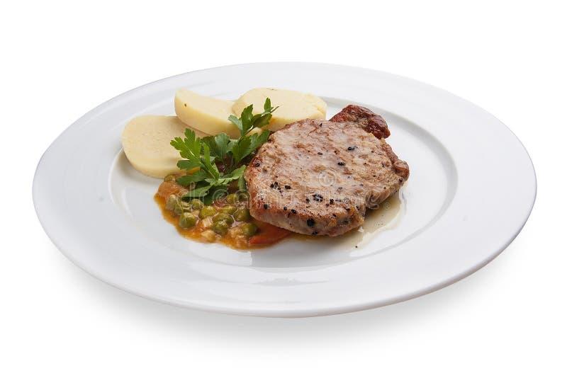 Snack aan bier Varkenskotelet met aardappels royalty-vrije stock afbeelding