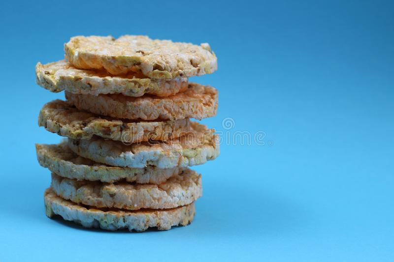 Diet crisp round bread. Rice biscuit texture stacked royalty free stock photos