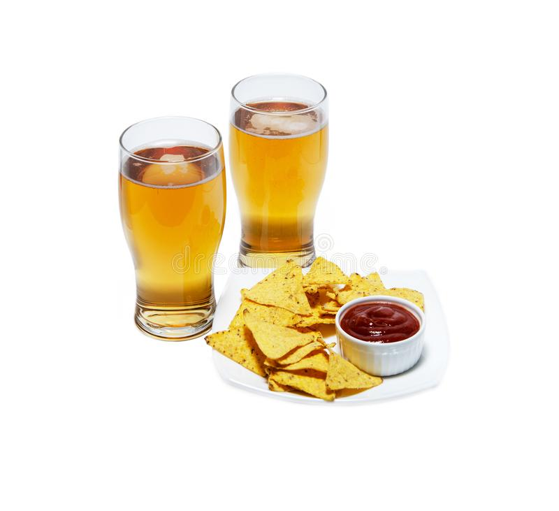 Beer and chips stock photography