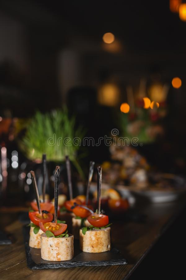 snack from chicken on buffet stock images