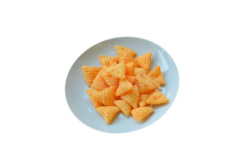 Snack in der Platte auf rotem Bretterboden stockfoto