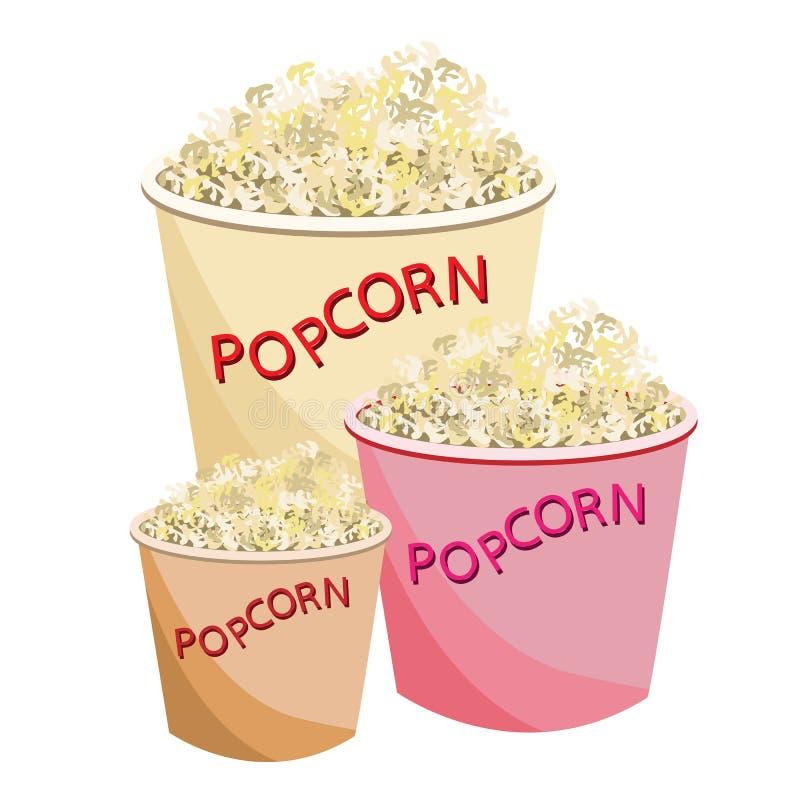 Frisches Popcorn in Größe drei der Papierschüssel vektor abbildung