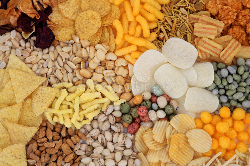 Snack Food. Savory snack food selection forming an abstract background royalty free stock images