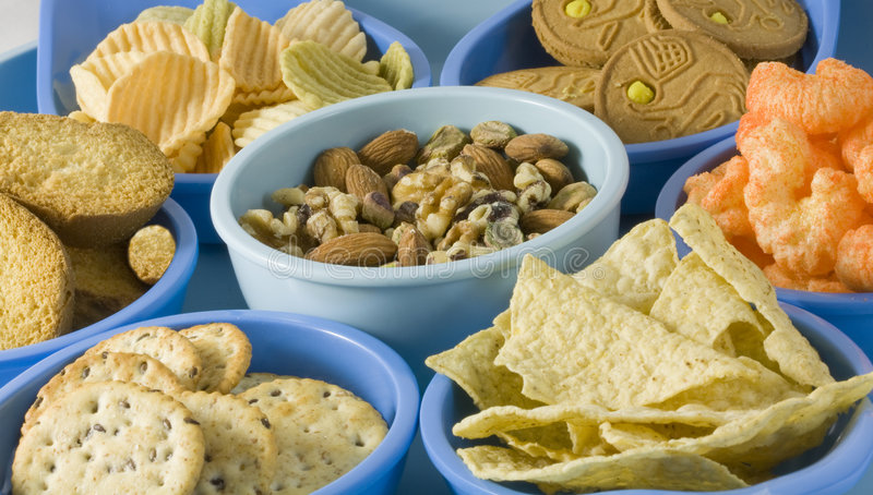 Snack Foods in Containers. Photo of Snacks in Containers stock image