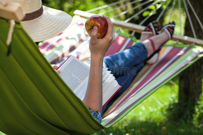 Snack on hammock royalty free stock images