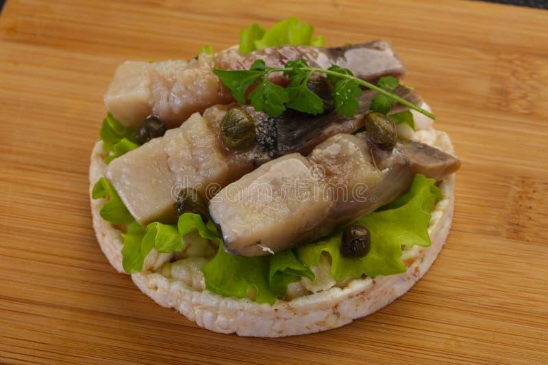 Snack with herring stock photo