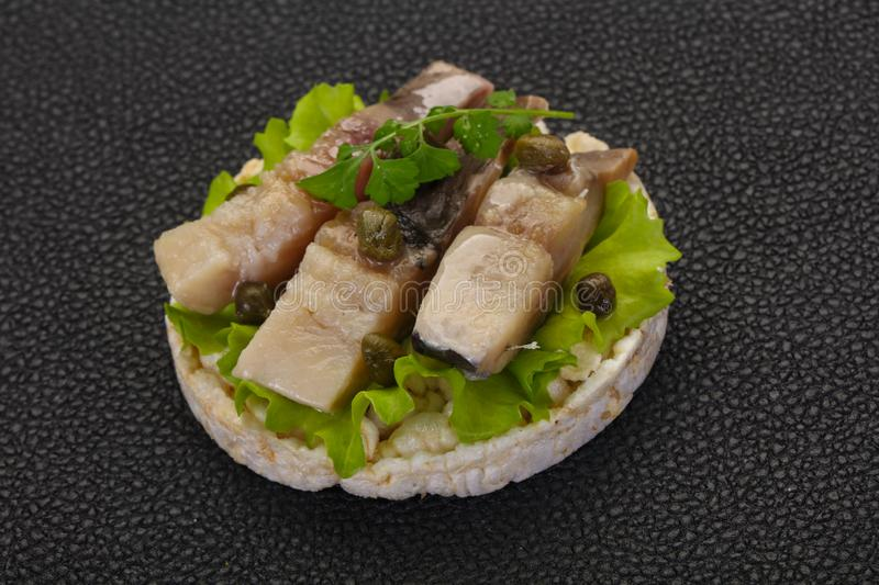 Snack with herring stock images