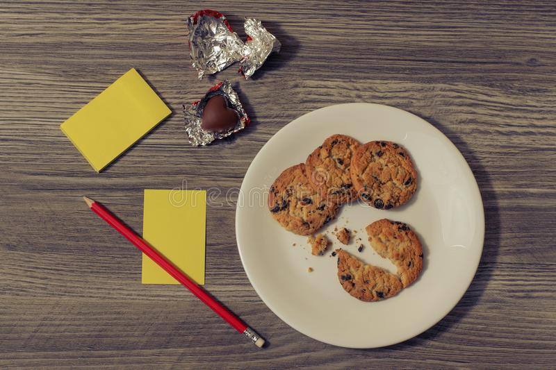 Snack inspiration idea list write present gift day school high education writer author concept. Top above overhead close up view p stock photo